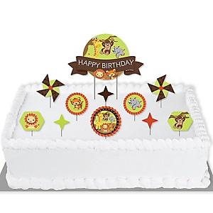 Funfari - Fun Safari Jungle - Birthday Party Cake Decorating Kit - Happy Birthday Cake Topper Set - 11 Pieces