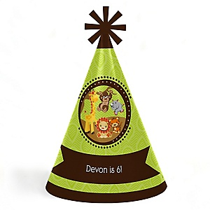 Funfari™ - Fun Safari Jungle - Personalized Cone Happy Birthday Party Hats for Kids and Adults - Set of 8 (Standard Size)