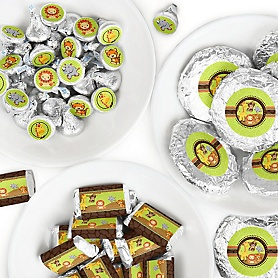 Funfari - Fun Safari Jungle - Mini Candy Bar Wrappers, Round Candy Stickers and Circle Stickers - Baby Shower or Birthday Party Candy Favor Sticker Kit - 304 Pieces