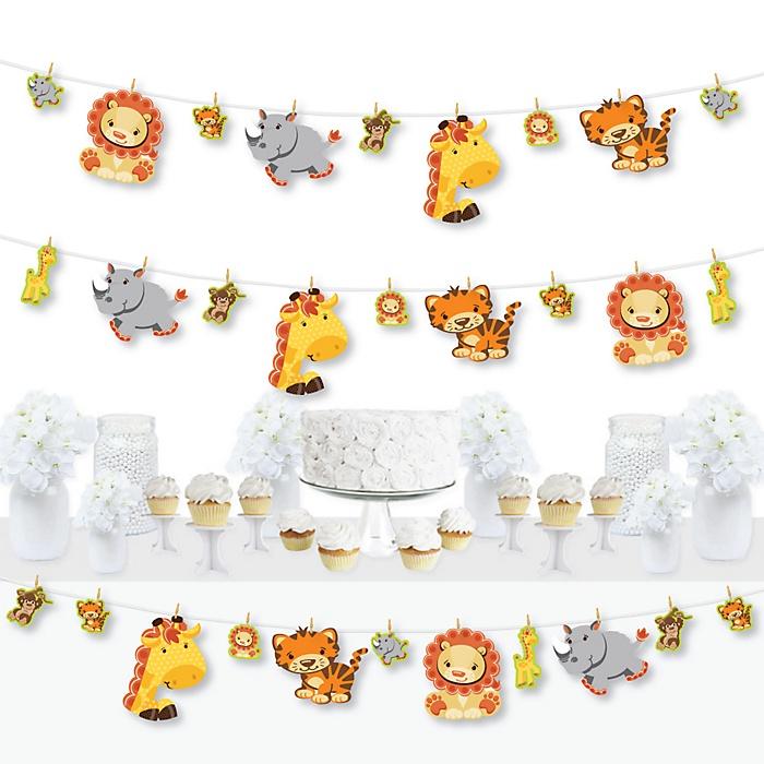 Funfari - Fun Safari Jungle - Baby Shower or Birthday Party DIY Decorations - Clothespin Garland Banner - 44 Pieces
