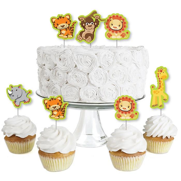 Funfari™ - Fun Safari Jungle - Dessert Cupcake Toppers - Baby Shower or Birthday Party Clear Treat Picks - Set of 24