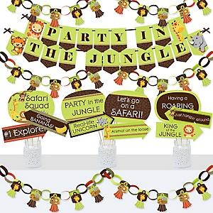 Funfari - Fun Safari Jungle - Banner and Photo Booth Decorations - Baby Shower or Birthday Party Supplies Kit - Doterrific Bundle