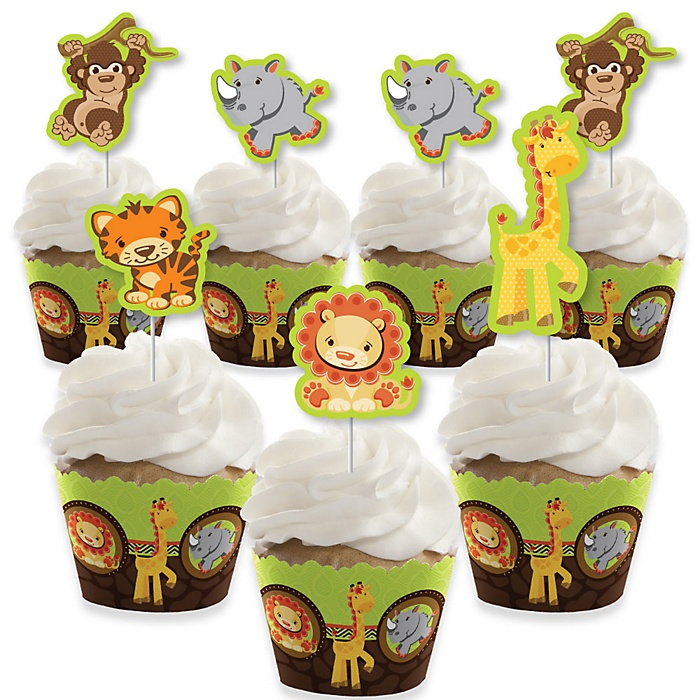 Funfari - Fun Safari Jungle - Cupcake Decoration - Baby Shower or Birthday Party Cupcake Wrappers and Treat Picks Kit - Set of 24