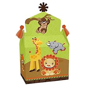 Funfari - Fun Safari Jungle - Treat Box Party Favors - Baby Shower or Birthday Party Goodie Gable Boxes - Set of 12