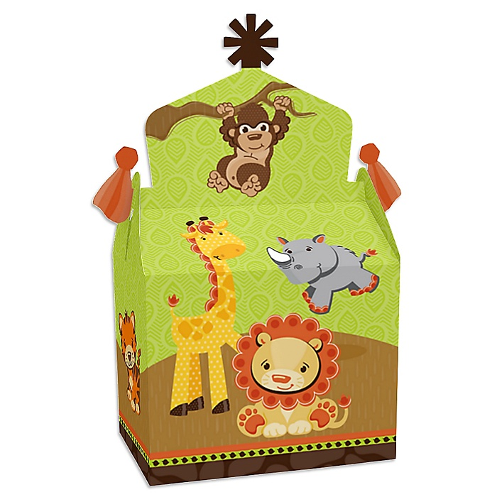 Funfari - Fun Safari Jungle - Treat Box Party Favors - Baby Shower or Birthday Party Goodie Gable Boxes - Set of 12