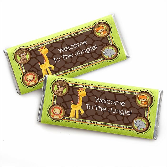 Funfari™ - Fun Safari Jungle -  Candy Bar Wrapper Baby Shower or Birthday Party Favors - Set of 24