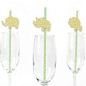 Gold Glitter Lion, Giraffe, Rhino and Elephant Party Straws - No-Mess Real Gold Glitter Cut-Outs and Decorative Safari Jungle Baby Shower or Birthday Party Paper Straws - Set of 24