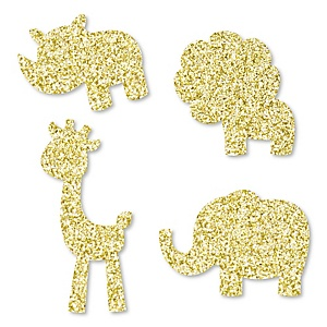 Gold Glitter Lion, Giraffe, Rhino and Elephant - No-Mess Real Gold Glitter Cut-Outs - Safari Jungle Baby Shower or Birthday Party Confetti - Set of 24