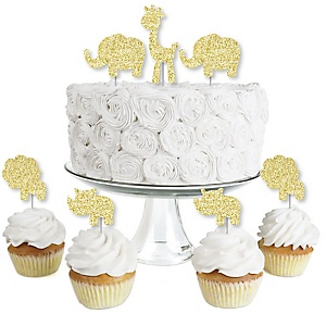 Gold Glitter Lion, Giraffe, Rhino and Elephant - No-Mess Real Gold Glitter Dessert Cupcake Toppers - Safari Jungle Baby Shower or Birthday Party Clear Treat Picks - Set of 24