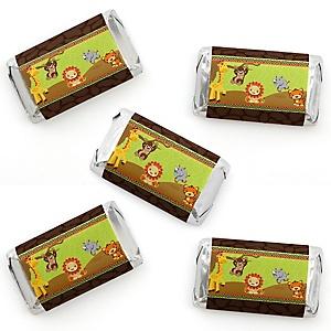 Funfari™ - Fun Safari Jungle - Mini Candy Bar Wrapper Stickers - Baby Shower or Birthday Party Small Favors - 40 Count