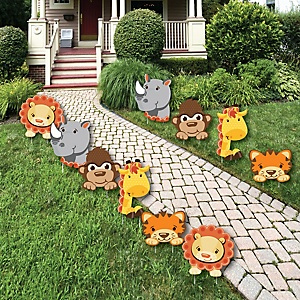 Funfari™ - Fun Safari Jungle - Lawn Decorations - Outdoor Baby Shower or Birthday Party Yard Decorations - 10 Piece