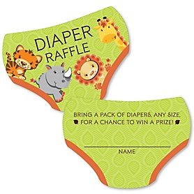 Funfari - Fun Safari Jungle - Diaper Shaped Raffle Ticket Inserts - Baby Shower Activities - Diaper Raffle Game - Set of 24