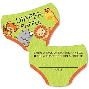 Funfari - Fun Safari Jungle - Diaper Shaped Raffle Ticket Inserts - Baby Shower Activities - Diaper Raffle Game - Set of 24