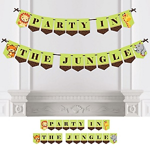 Funfari - Fun Safari Jungle - Baby Shower or Birthday Party Bunting Banner - Party Decorations - Party in the Jungle