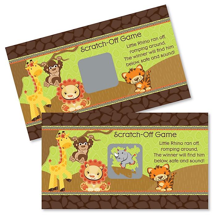 Funfari - Fun Safari Jungle - Baby Shower Game Scratch Off Cards - 22 ct