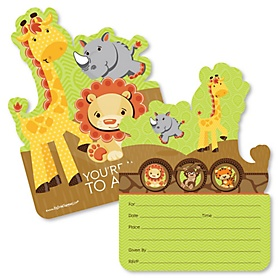 Funfari™ - Fun Safari Jungle - Shaped Fill-In Invitations - Baby Shower or Birthday Party Invitation Cards with Envelopes - Set of 12