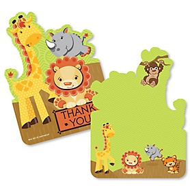 Funfari™ Funfari - Fun Safari Jungle - Shaped Thank You Cards - Baby Shower or Birthday Party Thank You Note Cards with Envelopes - Set of 12