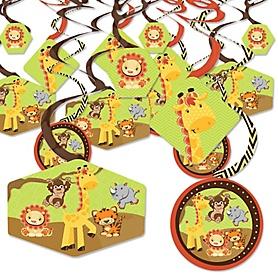 Funfari - Fun Safari Jungle - Baby Shower or Birthday Party Hanging Decor - Party Decoration Swirls - Set of 40