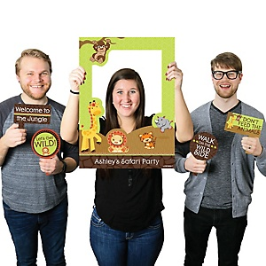 Funfari™ - Fun Safari Jungle - Personalized Birthday Party or Baby Shower Selfie Photo Booth Picture Frame & Props - Printed on Sturdy Material