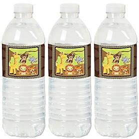 Funfari™ - Fun Safari Jungle - Party Water Bottle Sticker Labels - Set of 20