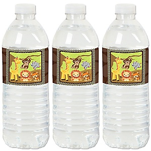 Funfari™ - Fun Safari Jungle - Party Water Bottle Sticker Labels - Set of 20