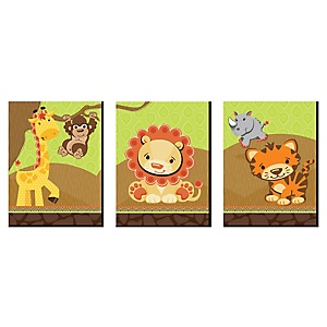 Funfari - Fun Safari Jungle - Nursery Wall Art and Kids Room Décor - 7.5 x 10 inches - Set of 3 Prints