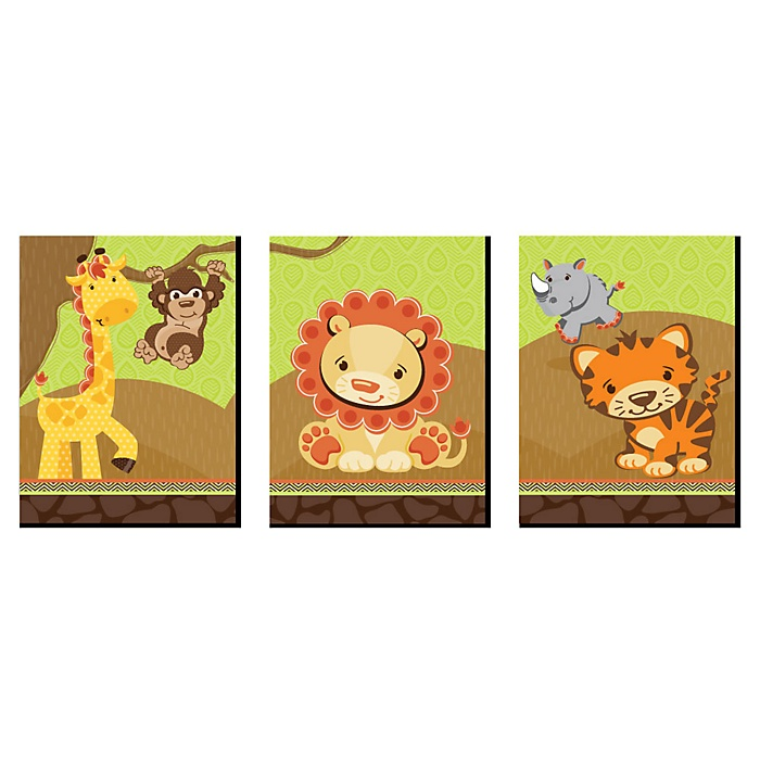 Funfari - Fun Safari Jungle - Nursery Wall Art and Kids Room Decor - 7.5 x 10 inches - Set of 3 Prints