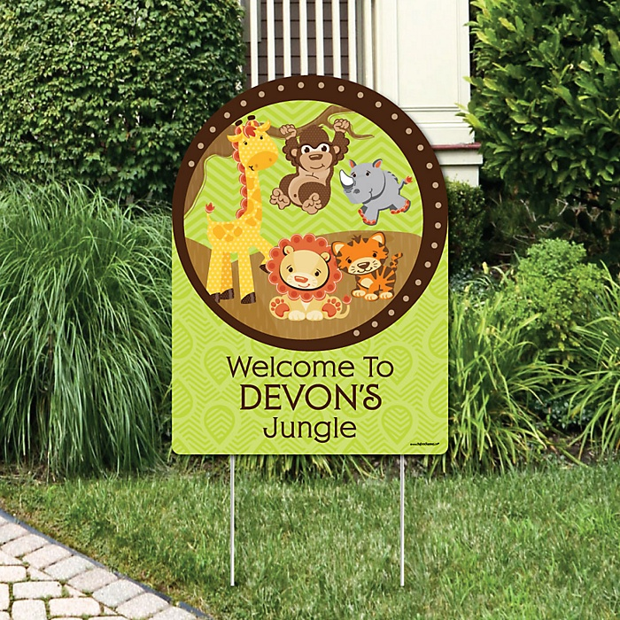 Funfari™ - Fun Safari Jungle - Party Decorations - Birthday Party or Baby Shower Personalized Welcome Yard Sign