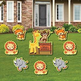 Funfari - Fun Safari Jungle - Yard Sign & Outdoor Lawn Decorations - Baby Shower or Birthday Party Yard Signs - Set of 8