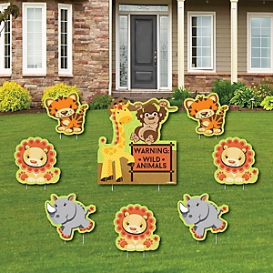 Funfari - Fun Safari Jungle - Yard Sign & Outdoor Lawn Decorations - Baby Shower or Birthday Party Yard Signs - Set of 8