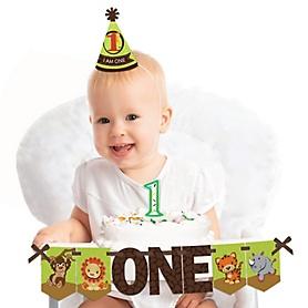 Funfari™ - Fun Safari Jungle 1st Birthday - First Birthday Boy or Girl Smash Cake Decorating Kit - High Chair Decorations