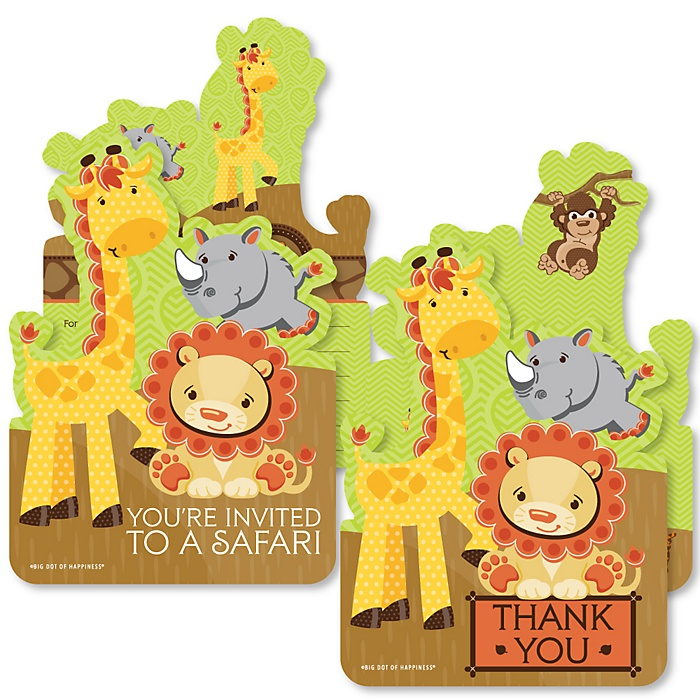 Funfari - Fun Safari Jungle - 20 Shaped Fill-In Invitations and 20 Shaped Thank You Cards Kit - Baby Shower or Birthday Party Stationery Kit - 40 Pack