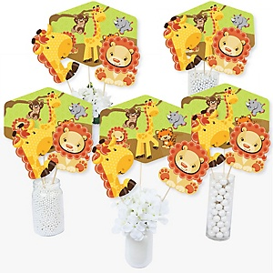 Funfari - Fun Safari Jungle - Baby Shower or Birthday Party Centerpiece Sticks - Table Toppers - Set of 15