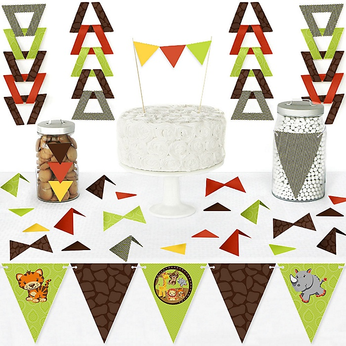 Funfari - Fun Safari Jungle - DIY Pennant Banner Decorations - Baby Shower or Birthday Party Triangle Kit - 99 Pieces