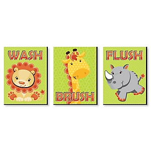 Funfari™ - Fun Safari Jungle - Kids Bathroom Rules Wall Art - 7.5 x 10 inches - Set of 3 Signs - Wash, Brush, Flush