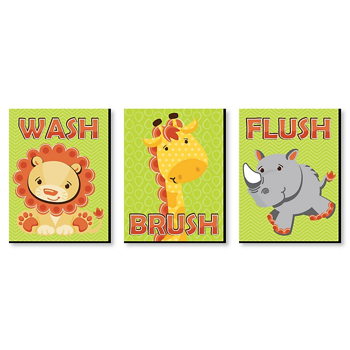 Funfari™ - Fun Safari Jungle - Kids Bathroom Rules Wall Art - 7.5 x 10 inches - Set of 3 Signs - Wash, Brush, Flush