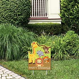 Funfari - Fun Safari Jungle - Outdoor Lawn Sign - Baby Shower or Birthday Party Yard Sign - 1 Piece