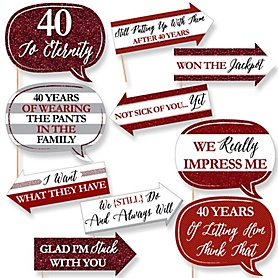Funny We Still Do - 40th Wedding Anniversary - 10 Piece Anniversary Party Photo Booth Props Kit