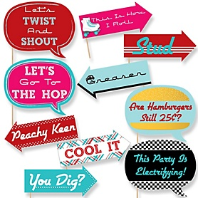 Funny 50's Sock Hop - 10 Piece Photo Booth Props Kit