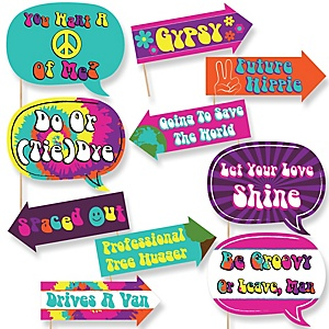 Funny 60's Hippie - 10 Piece Photo Booth Props Kit