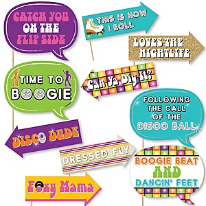 Funny 70's Disco - 10 Piece Photo Booth Props Kit