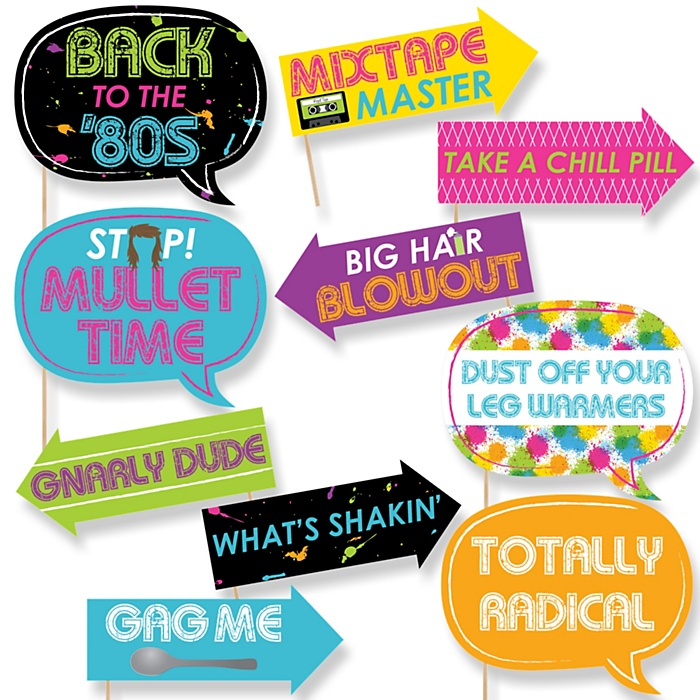 Funny 80's Retro - 10 Piece Photo Booth Props Kit