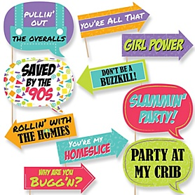Funny 90's Throwback - 10 Piece Photo Booth Props Kit