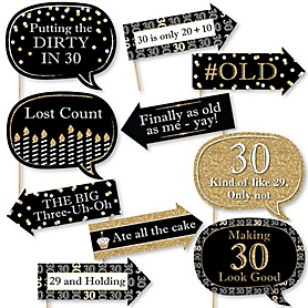 Funny Adult 30th Birthday - Gold - 10 Piece Birthday Party Photo Booth Props Kit