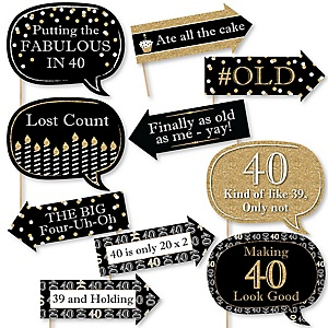 Funny Adult 40th Birthday - Gold - 10 Piece Birthday Party Photo Booth Props Kit