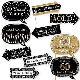 Funny Adult 60th Birthday - Gold - 10 Piece Birthday Party Photo Booth Props Kit