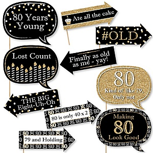 Funny Adult 80th Birthday - Gold - 10 Piece Birthday Party Photo Booth Props Kit