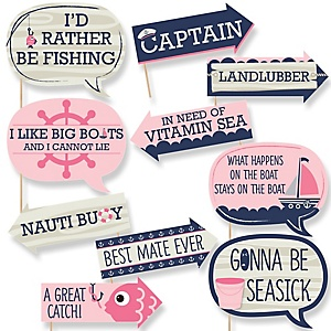 Funny Ahoy - Nautical Girl - 10 Piece Photo Booth Props Kit