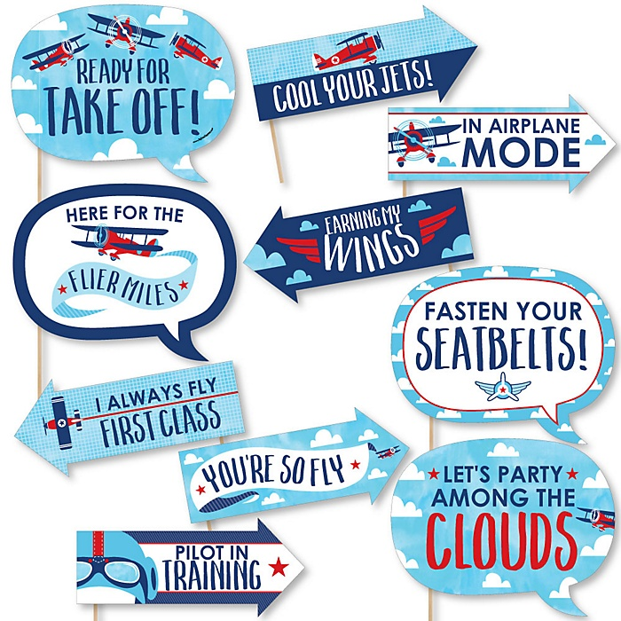 Funny Taking Flight - Airplane - 10 Piece Vintage Plane Baby Shower or Birthday Party Photo Booth Props Kit