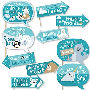 Funny Arctic Polar Animals - Winter - 10 Piece Baby Shower or Birthday Party Photo Booth Props Kit